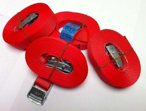 iapyx 4 Spanngurte Zurrgurte 250 Kg 4 m Signalfarbe rot mit Klemmschloss Spanngurt Schnellspannung Befestigungsriemen