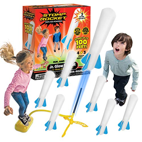 The Original Stomp Rocket Jr. Glow Rocket and Rocket Refill Pack, 7 Rockets and...