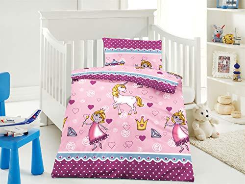 Furniture for Friends Belsonno® Kinder Bettwäsche 100 x 135 cm + Kissen 40 x 60 cm Mikrofaser Lola-Pink | ÖKO-TEX Standard 100 mit Reißverschluss | Erhältlich mit verschiedenen Motiven