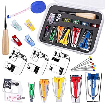 Bias Tape Tool Kit with Instruction 5 Sizes Bias Tape Maker  6mm 9mm 12mm 18mm 25mm  with 4 Pcs Sewing Machine Presser Foot Sewing Clips Ball Point Pins Awl for Fabric Sewing and Quilting