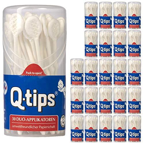 Q-tips® Pflegestäbchen Duo-Applikatoren, Runddose, (24 x 30 Stück), Wattestäbchen ohne Plastik