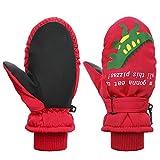 Toddler Mittens Winter Snow Glove waterproof mitten Warm Fleece Kid Ski Gloves for Boys Girls Red Dinosaur S