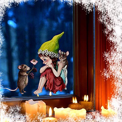 ilka parey wandtattoo-welt Fensterbild Elfe Fee & Maus Mäuschen -WIEDERVERWENDBAR- Fensterdeko Fensterbilder Winterdeko bf1