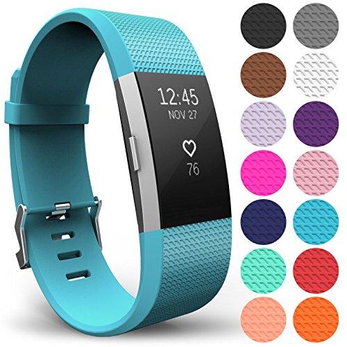 Yousave Accessories Armband Kompatibel mit Fitbit Charge 2, Ersatz Fitness Armband und Uhrenarmband, Silikon Sportarmband und Fitnessband, Wristband Armbänder für Fitbit Charge2 - Klein, Cyan
