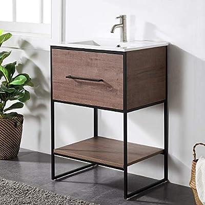 One Drawer Modern Black Wood Grain Vanity Set Combo Small Bathroom Vanity,Vanity Cabinet Sink Combo Set with Integrated Ceramic Sink