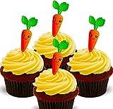- Obleas comestibles decorativas para tartas con diseño de zanahorias, 24 unidades