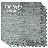 100 Sq Ft Sea Haze Grey Wood Grain EVA Interlocking Foam Mats Flooring - (24' x 24', 25 pcs), Protective Flooring for Home Office Playroom Basement Trade Show, 1 Year Warranty