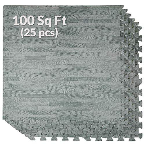 100 Sq. Ft 3/8 Inch Thick Interlocking Foam Mats Flooring, Sea Haze Grey Wood Grain Style - (24