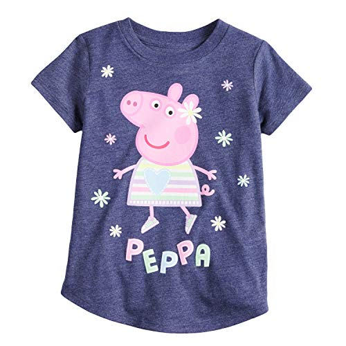 Jumping Beans Toddler Girls 2T-5T Peppa Pig Glitter Graphic Tee 4T Peacoat Navy