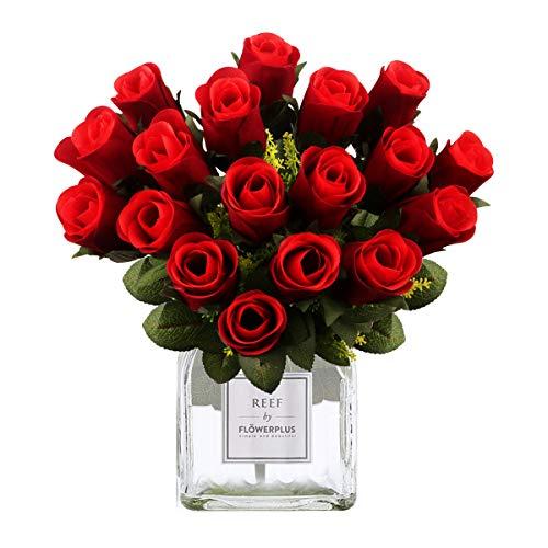 18 Ramo Rosas Artificiales, Realista Largo Tallo Falso Rosa Seda Nupcial Ramo...