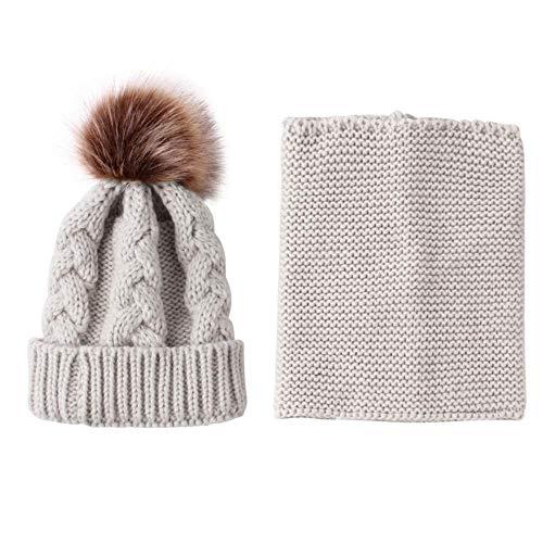 Pack Bonnet Echarpe en Tricoté pour Enfant Bébé Fille Garçon Unisexe Deux Pièces Hiver avec Pompons Vêtements Accessoires Tenir Chaud Extérieur