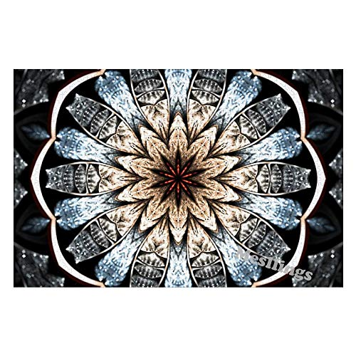 Mesllings Jigsaw Puzzles for Adults 1000 Pieces   Fractal Art Flower Vintage Pattern Wooden Jigsaw Puzzles for Adults Entertainment for Creative Gift Home Decor (Without Frame)
