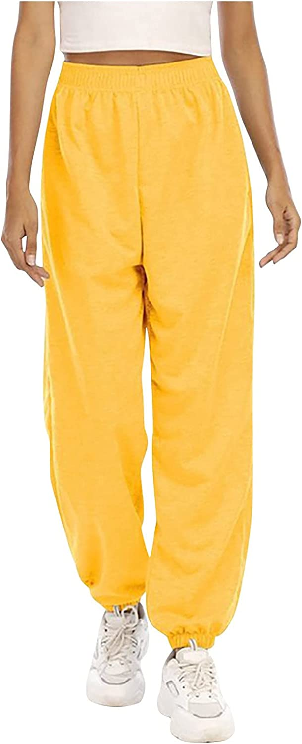 VIASA_ Women's Solid Color High Waisted Loose Pants with 2 Pockets Womens Comfy Polyester Elastic Waistband Trousers