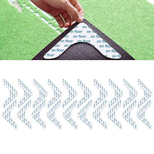 Fuyamp 8 unidades / 20 unidades de pinzas para alfombra, antideslizante, antideslizante, lavable, reutilizable, adhesivo fuerte (blanco-20 unidades)