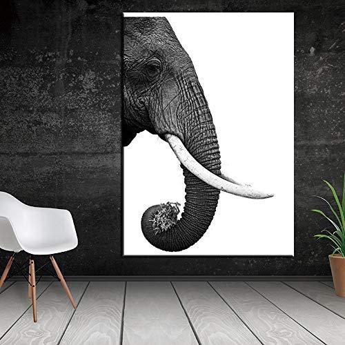 yaoxingfu Puzzle 1000 Teile Elefant weiß schwarz realistische Kunstmalerei Puzzle 1000 Teile Tiere Geschicklichkeitsspiel für die ganze Familie, farbenfrohes Platzierungsspiel50x75cm(20x30inch)