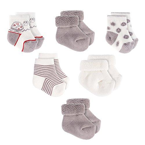 Jacobs Babymoden Baby Socken/Erstlings-Söckchen/Erstlingssocken - 6er Pack (0-3 Monate) Baumwolle, Schadstoffgeprüft - Ecru Grau