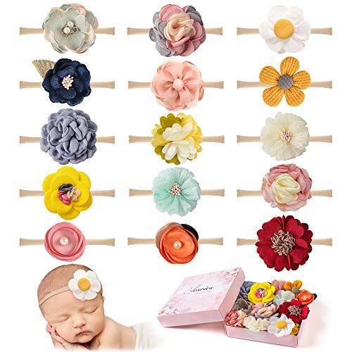 15 PCS Baby Girls Headbands Flowers Hairbands Soft Nylon Elastics Hair Bows Handmade Floral Hair Accessories for Newborn Infant Toddlers Kids