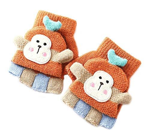 Mofeng Mädchen & Jungen Winter Warme Handschuhe Kinder Cartoon Gestrickte Halbfingerhandschuhe, 1-5 Jahre alt Gelb