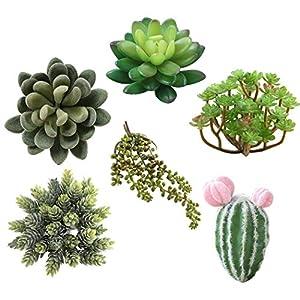 Silk Flower Arrangements Artificial Plant Succulent, JUSTDOLIFE 6PCS Fake Succulent Decorative Realistic Artificial Succulent Artificial Plant