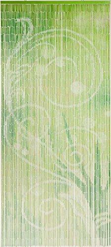 Dekorationsvorhang aus lackiertem Natur-Bambus und farbigen Holzperlen, 90 x 200 cm