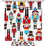 TIKISMILE - Juego de cortinas de ducha de tela de poliéster impermeable con diseño de soldados y cascanueces, de 60 x 40 cm, con 12 ganchos para baño