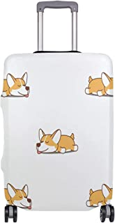 Mydaily Cute Sleeping Corgi Dog Luggage Cover Fits 18-32 Inch Suitcase Spandex Travel Baggage Protector