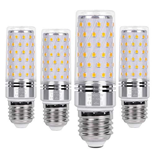 SanGlory 4 Pezzi Lampadina LED E27 12W Equivalenti a 100W Incandescenza, Lampadine Mais LED E27 Calda 3000K 1350LM Alta luminosità e Risparmio EnergeticoNon Dimmerabile (E27 Calda)