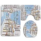City Streets Light in Winter Snow Scene 3Pcs Juego de alfombras de baño Alfombra de baño Antideslizante + Alfombrilla de baño en Forma de U + Funda de Asiento de Inodoro