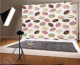 Fondo para fotografía de vinilo de 10 x 8 pies, American Traditional Classic Breakfast Fast Food Postre Sweet Tasty Donuts Art Print para bebé, fiesta de cumpleaños, boda, estudio, fotografía