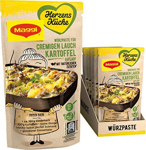 Maggi Herzensküche Cremiger Lauch-Kartoffel-Auflauf, Würzpaste für Auflauf-Gerichte, Vegetarisch, 10er Pack (10 x 65 g)