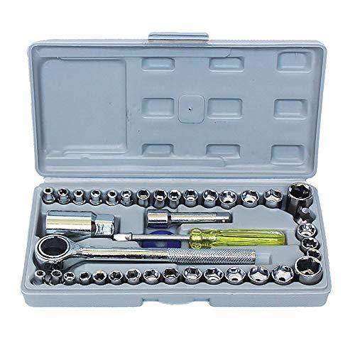 Caja de herramientas del vehículo 40 PCS Configuración de zócalo de la unidad Servilleta Durable Ratchet Wrench Socket Kit Combinación de reparación automática y hogar con estuche de almacenamiento. A