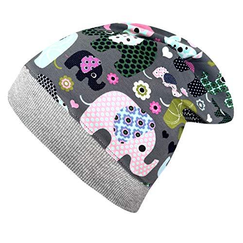 Wollhuhn Gorro de punto de algodón para niños y niñas, con diseño de elefantes, 20161121 gris/rosa 52-54
