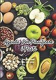 Agenda per pianificare i pasti: v1-3 Perfetta per pianificatore dei pasti per l'intera settimana | scrivere una lista della spesa per ogni pasto | 111 ... foto di frutta e verdura su un tavolo marrone