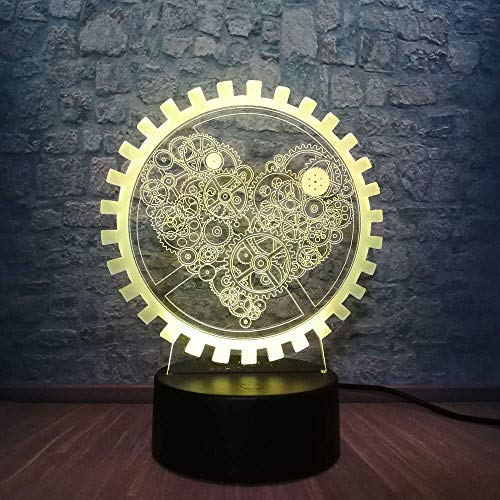 Romantic 3D innovatief gadget Mechanical Gear Love Night Light Atmosphere LED tafellamp kleurrijke illusie mod decoratief geschenk