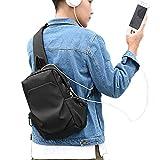 Sling Bag for Men Women Crossbody Backpack One Strap Backpack for Hiking Walking Biking Travel with USB Charging Port, Nylon