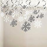 HOWAF Weihnachten Winter Girlande Schneeflocken, Schneeflocken deko Deckenhänger Spiral Girlanden Schneehänger für neujahr Weihnachten Dekoration Winter deko, 30 teilige