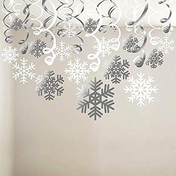 Snowflake Swirls Decoration 30pcs  Konsait Merry Christmas Snowflake Hanging Swirls Garland Foil Ceiling ornaments for Xmas Winter Wonderland Holiday Party Decor Supplies,Already Assembled