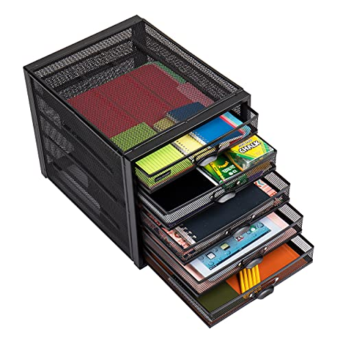 Mind Reader 5CABMESH-BLK Schrank, Metallaufbewahrung, Aktenaufbewahrung, Büroaufbewahrung, strapazierfähig, Mehrzweck, Schwarz 5 Schubladen