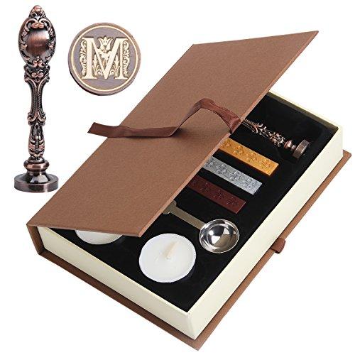 Wachs Siegel Stempel, puqu Vintage Buchstabe Buchstaben Metall Griff Wachs Umschlag Siegel Stempel Geschenk Set Kit M Red Brass