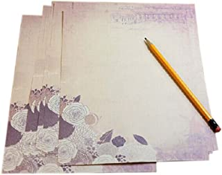 16Pcs Retro Floral Kraft Paper Stationery Calligraphy Writing Papers