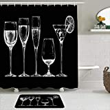 FOURFOOL Set di Tende per Doccia,Bicchieri di vetro calici su nero cibo bevanda vino flauto contorno vintage alcol alcolici palloncino bar,Antiscivolo Tappetino da Bagno Tende da Bagno Impermeabili