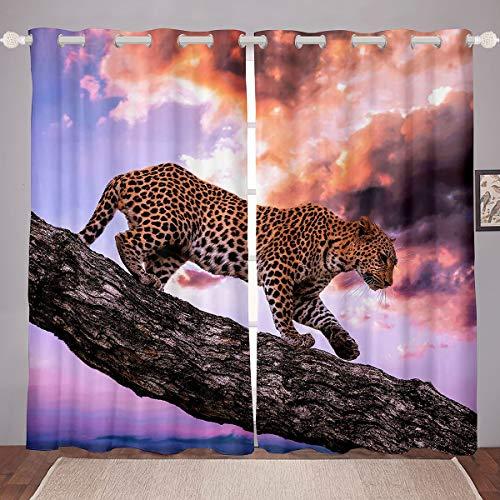 Homemissing Cortina con estampado de leopardo, diseño de guepardo, para niños, niñas y niños, diseño de animales salvajes, ultra suave, decoración de la naturaleza, cortina de ventana de 46 x 54