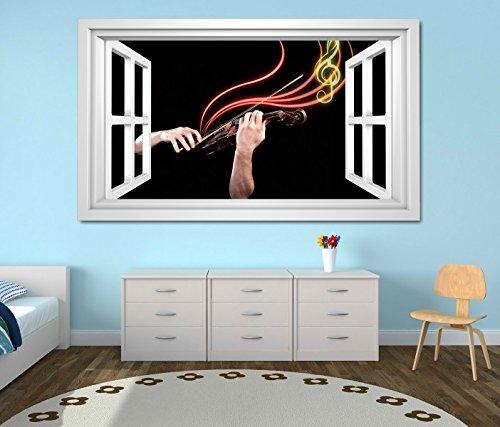 3D Wandtattoo Musik Geige Noten abstrakt Hände Fenster selbstklebend Wandbild Tattoo Wand Aufkleber 11M1417, Wandbild Größe F:ca. 140cmx82cm