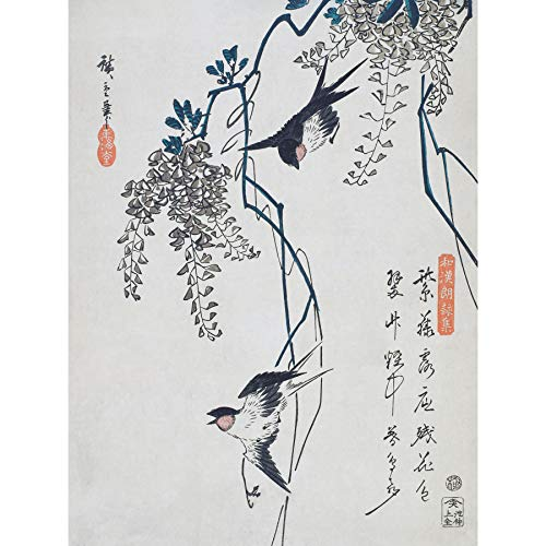 Wee Blue Coo Swallows and Wisteria Utagawa Hiroshige Large Wall Art Poster Print Thick Paper 18X24 Inch Wand Poster drucken