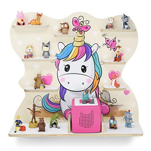 Kinder Regal für Musikbox I Motiv Pony I Geeignet für die Toniebox und ca. 45 Tonies I Geschenk I Geschenkidee I Spielen I Sammeln I Aufstellen oder Aufhängen - mit breiten Boden