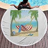 Toalla de Playa para Exteriores Toalla de Playa de Secado rápido para Mujeres Hamaca Entre Palmeras en la Playa Ilustración de Estilo de Dibujos Animados Composición Digital Toallas Ligeras de Secado