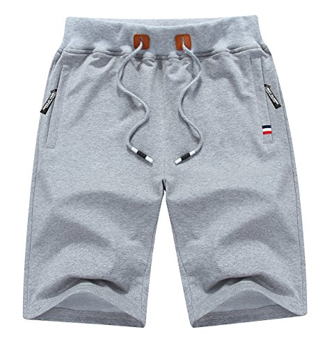 MO GOOD Mens Casual Jogging Shorts Fashion Workout Shorts (Grey, US (32-33))