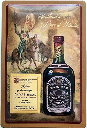 Deko7 blikken bord 30 x 20 cm Chivas plank Blend Scotch Whisky 12 Year Old