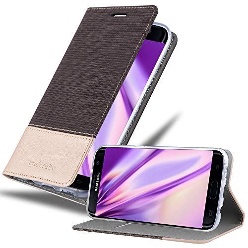 Cadorabo Funda Libro para Samsung Galaxy S7 Edge en Antracita Oro - Cubierta Proteccíon con Cierre Magnético, Tarjetero y Función de Suporte - Etui Case Cover Carcasa