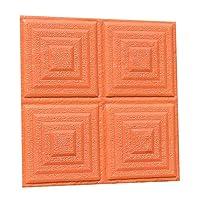 PULABO ?30x30cm 3D効果幾何学模様ウォールステッカーリビングルームTVの背景デカールオレンジ創造的で実用的 耐久性のある